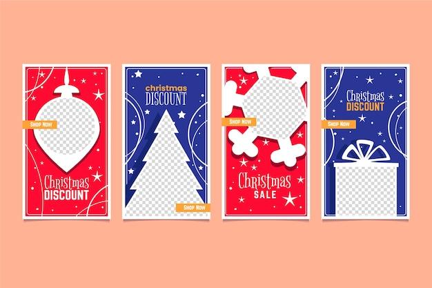Coleção de histórias de venda de natal do instagram Vetor grátis