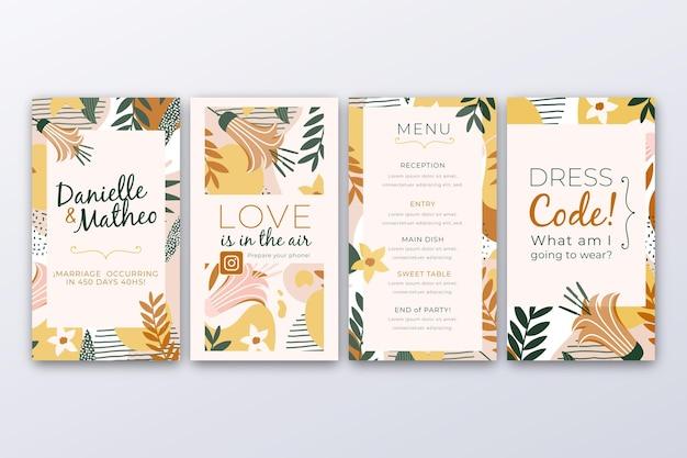 Coleção de histórias do instagram com folhas para casamento Vetor grátis