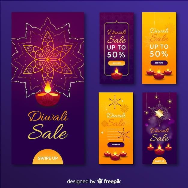 Coleção de histórias do instagram de diwali Vetor grátis
