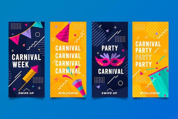 Coleção de histórias do instagram de festa de carnaval Vetor grátis