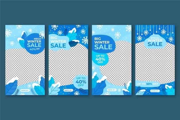 Coleção de histórias do instagram de venda de inverno Vetor grátis