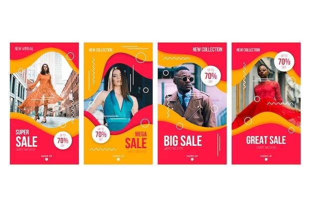Coleção de histórias do instagram de vendas Vetor grátis