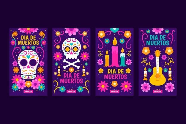 Coleção de histórias do instagram dia de muertos Vetor Premium
