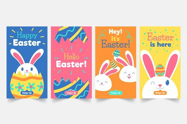 Coleção de histórias do instagram do dia de páscoa com coelho Vetor grátis