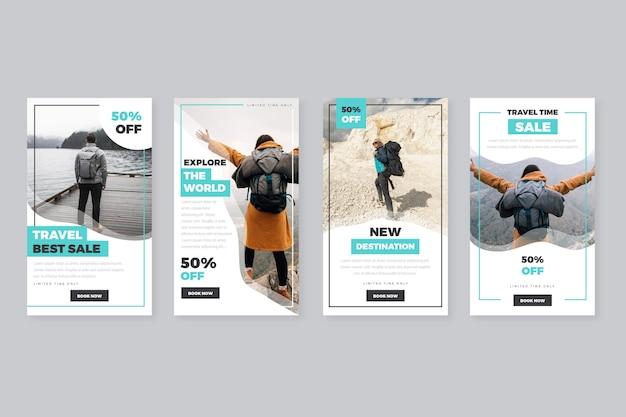 Coleção de histórias do instagram para venda de viagens Vetor Premium