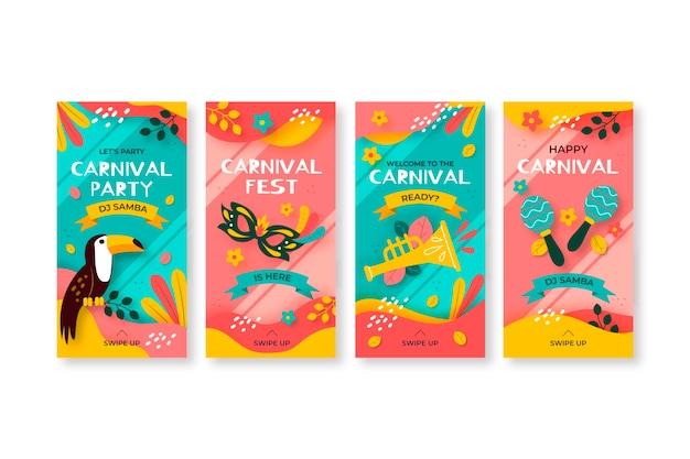 Coleção de histórias exóticas de pássaros e máscaras carnaval instagram Vetor grátis