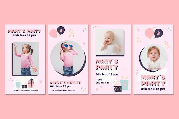 Coleção de histórias instagram de aniversário infantil Vetor Premium