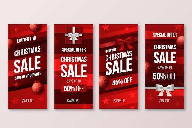Coleção de histórias instagram de venda de natal Vetor grátis