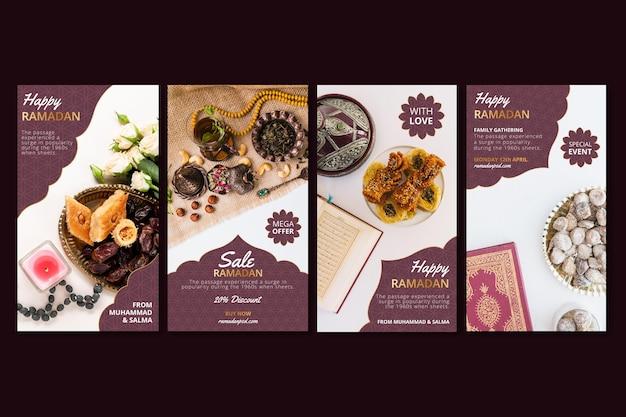 Coleção de histórias instagram de venda de ramadã Vetor Premium