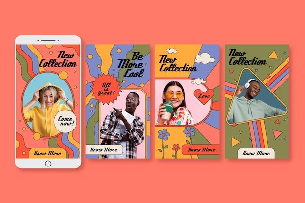 Coleção de histórias instagram desenhadas à mão Vetor grátis