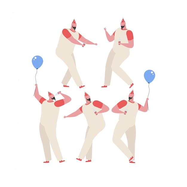 Coleção de homem dançando e se divertindo em uma festa de aniversário Vetor Premium