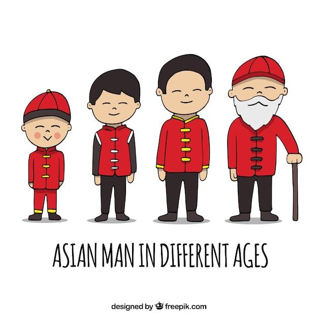 Coleção de homens asiáticos em diferentes idades Vetor grátis