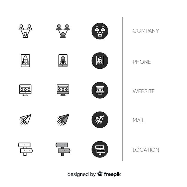 Coleção de ícone de cartão de visita de design plano Vetor grátis