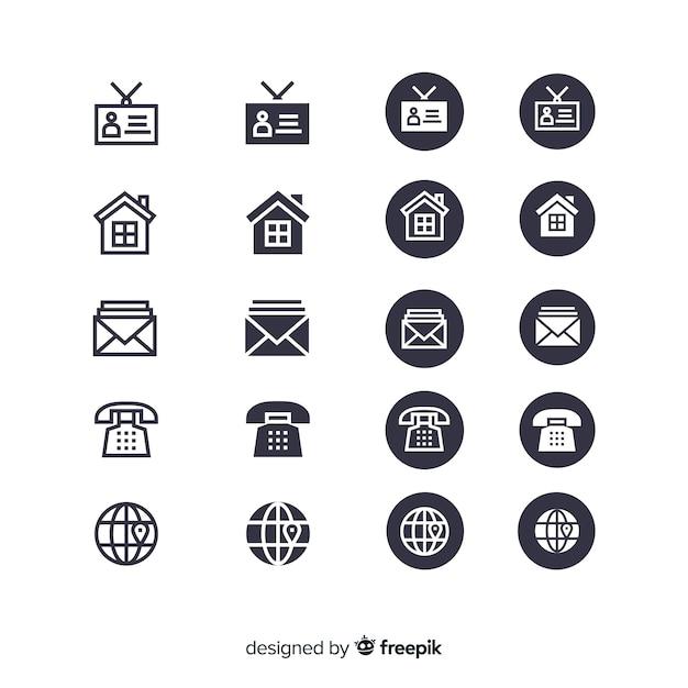 Coleção de ícone de cartão de visita Vetor Premium