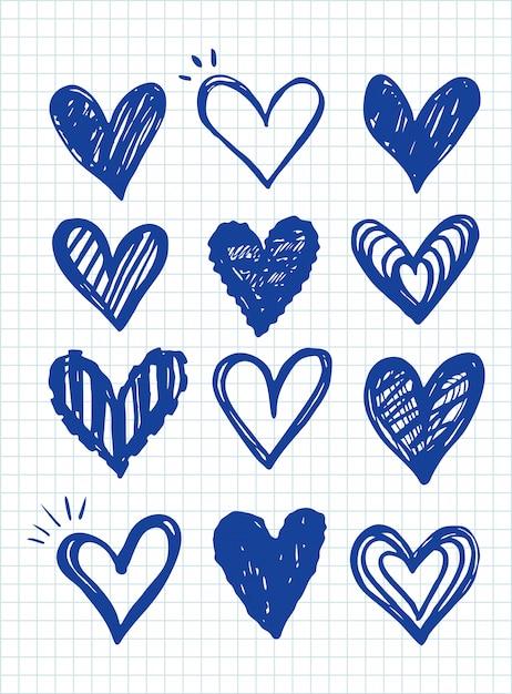 Coleção de ícone de coração, modelo de símbolos de amor Vetor Premium