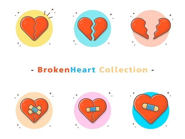 Coleção de ícone de coração partido Vetor Premium