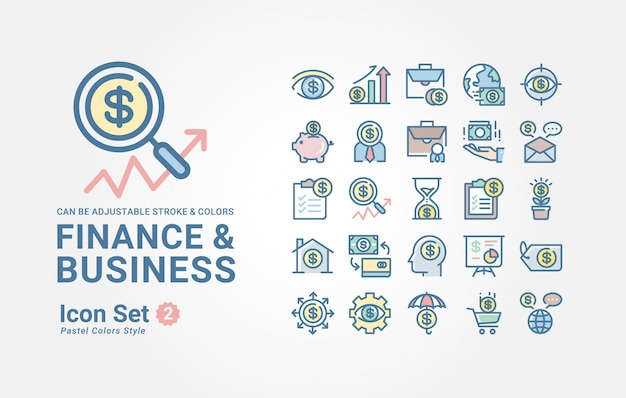 Coleção de ícone de finanças e negócios Vetor Premium