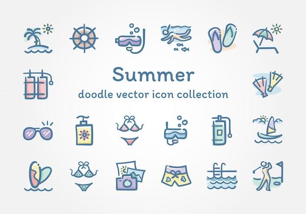 Coleção de ícone de vetor de doodle de verão Vetor Premium