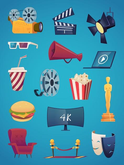 Coleção de ícone do cinema. imagens de desenhos animados de entretenimento de cinema cinema pipoca de clube de vídeo 3d óculos de pipoca câmera ilustrações vetoriais Vetor Premium