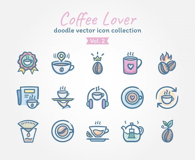 Coleção de ícone do vetor de amante de café doodle Vetor Premium
