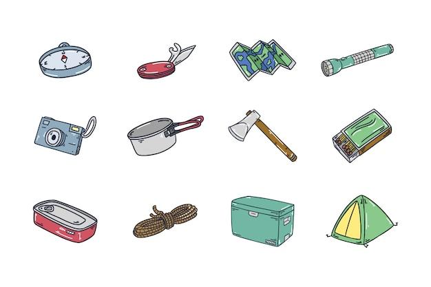Coleção de ícones de acampamento ao ar livre desenhada de mão Vetor Premium