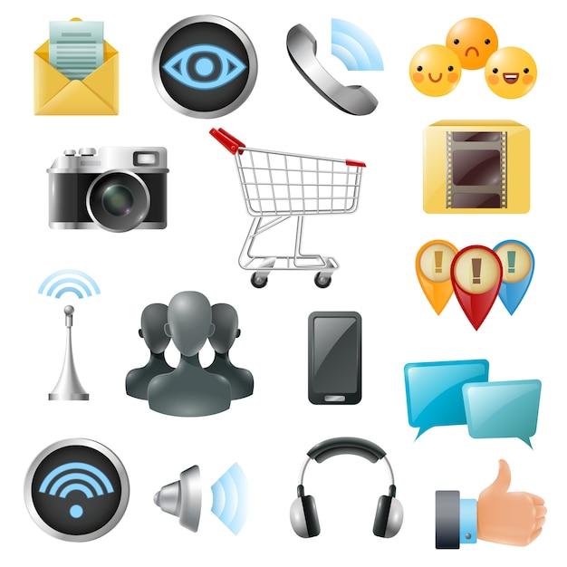 Coleção de ícones de acessórios de símbolos de mídia social Vetor grátis