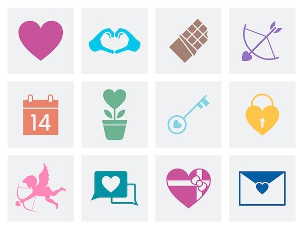 Coleção de ícones de amor dia dos namorados Vetor grátis