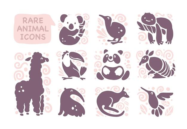 Coleção de ícones de animais lisos fofos isolados no fundo branco. animais raros e símbolos de pássaros. mão-extraídas emblemas de animais tropicais exóticos. perfeito para design de logotipo, infográfico, impressões etc. Vetor Premium