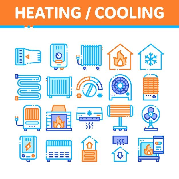Coleção de ícones de aquecimento e resfriamento Vetor Premium