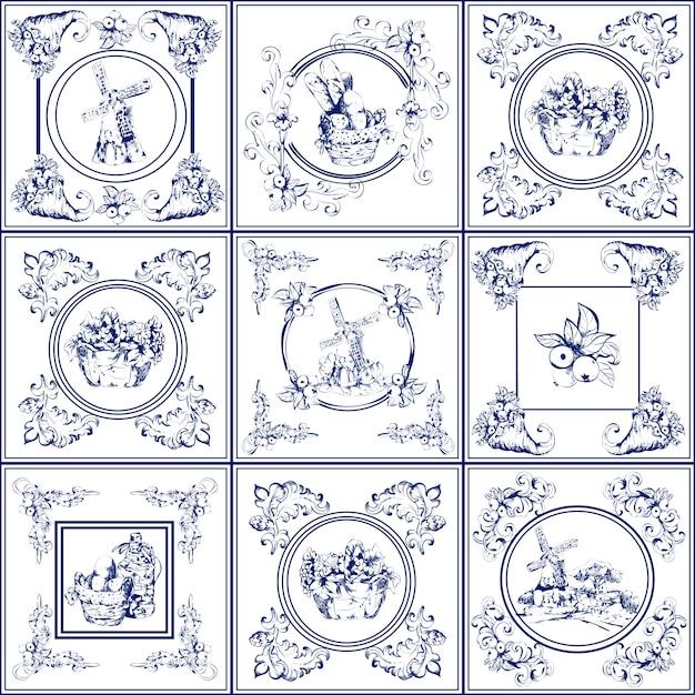 Coleção de ícones de azulejos famosos delft azul Vetor grátis