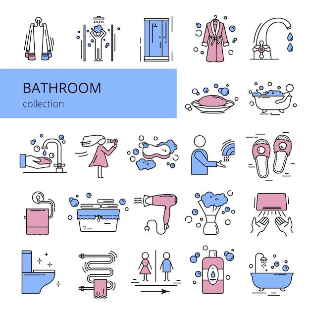 Coleção de ícones de banheiro. Vetor Premium