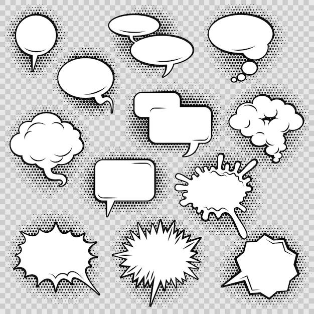 Coleção de ícones de bolhas de discurso em quadrinhos de retângulo oval de nuvem e forma irregular Vetor grátis