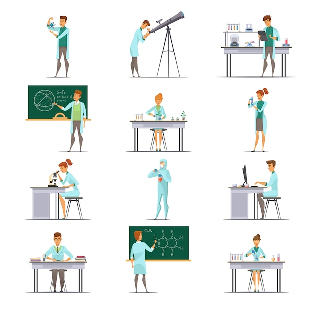 Coleção de ícones de cartoon retrô de pesquisadores de pesquisadores de laboratório científico Vetor grátis