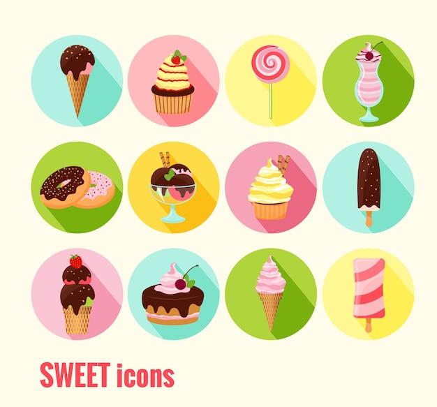 Coleção de ícones de doces vetoriais com bolos de bolinhos de sorvete, rosquinhas, milkshake de sundae e picolé com cobertura de chocolate cereja e cobertura em botões coloridos Vetor grátis