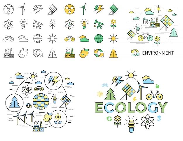 Coleção de ícones de ecologia verde Vetor Premium