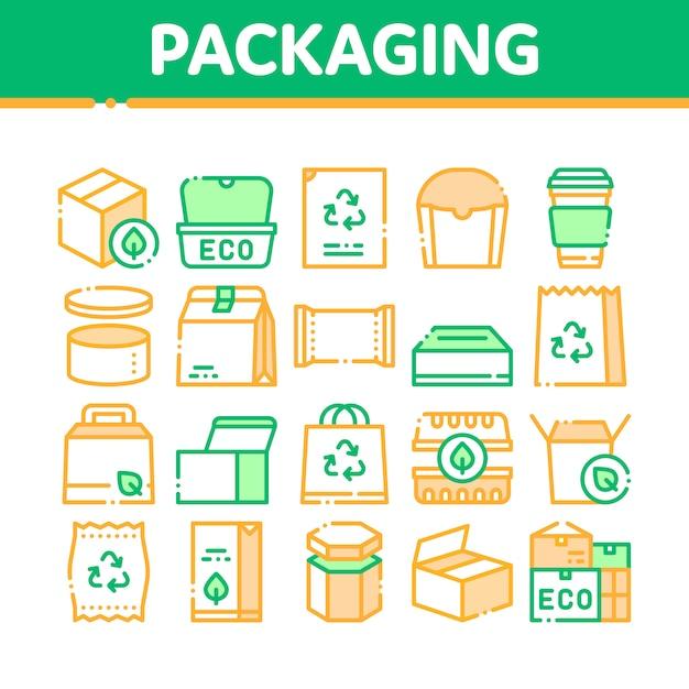 Coleção de ícones de embalagens Vetor Premium