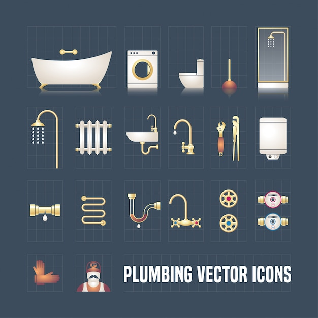 Coleção de ícones de encanamento em conjunto. objetos e ferramentas de encanamento Vetor Premium