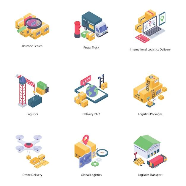 Coleção de ícones de entrega logística Vetor Premium