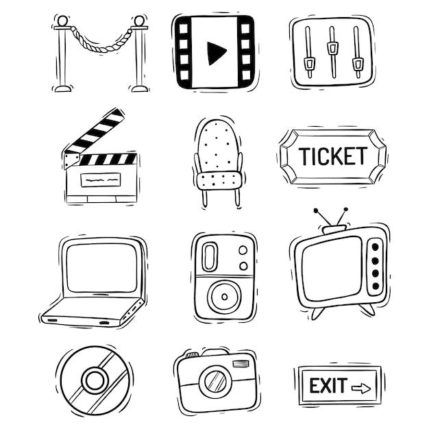 Coleção de ícones de filme ou filme com estilo doodle Vetor Premium