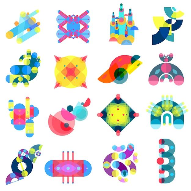 Coleção de ícones de formas de cor Vetor Premium
