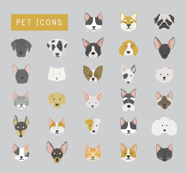 Coleção de ícones de gatos e cães Vetor grátis