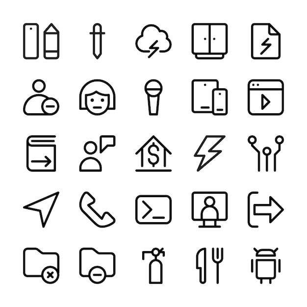Coleção de ícones de linha da interface do usuário Vetor Premium