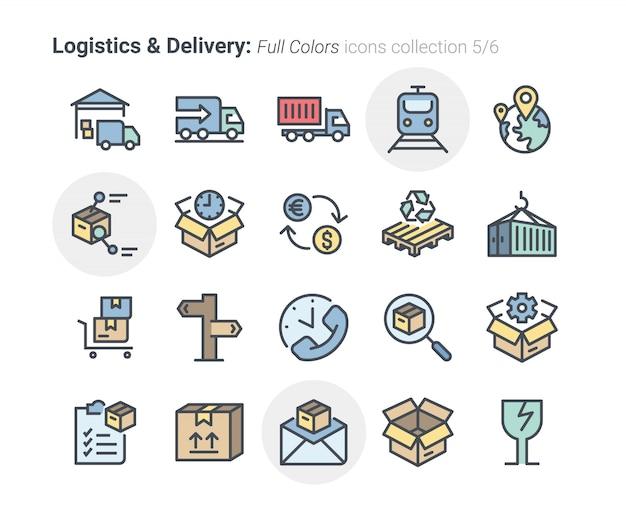 Coleção de ícones de logística e entrega 5 Vetor Premium