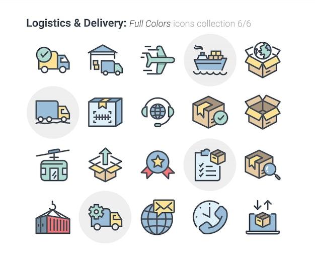 Coleção de ícones de logística e entrega 6 Vetor Premium