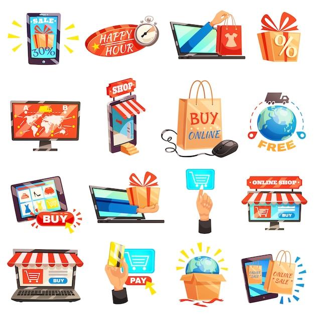 Coleção de ícones de loja on-line Vetor grátis