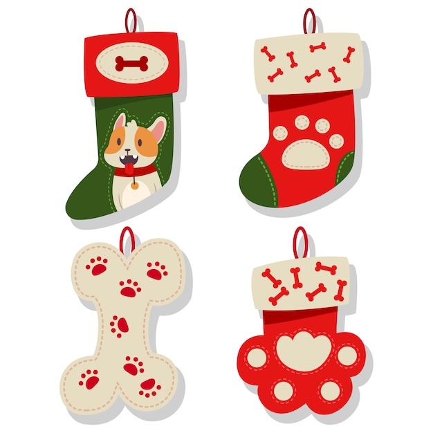 Coleção de ícones de meia de natal de cachorro. meias para cachorrinho em um fundo branco. Vetor Premium