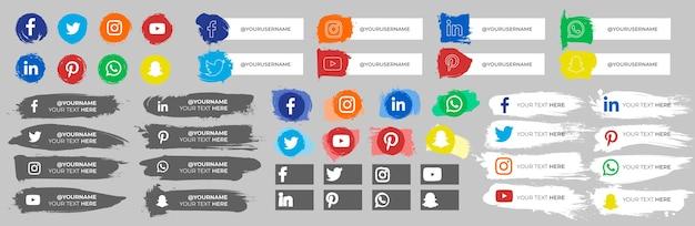 Coleção de ícones de mídia social com traços Vetor grátis