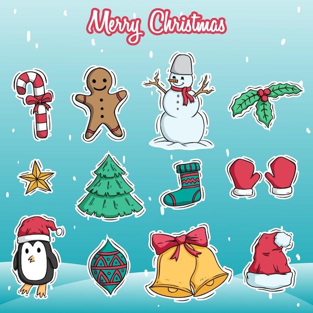 Coleção de ícones de natal ou decoração Vetor Premium