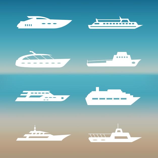 Coleção de ícones de navio e barcos branco Vetor Premium