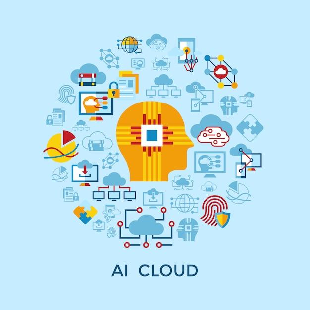 Coleção de ícones de nuvem de inteligência artificial Vetor Premium
